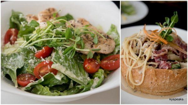 rosemary chicken Caesar salad, carbonara di cipolla in bread bowl