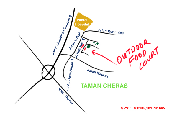 map to the night time outdoor food court at Taman Cheras