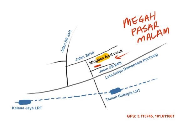 map to Taman Megah pasar malam