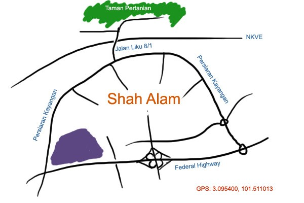 map to Taman Pertanian, Shah Alam