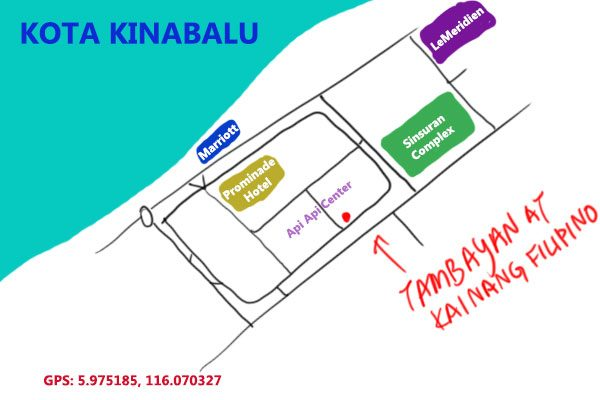 map to Tambayan at Api Api Center, Kota Kinabalu