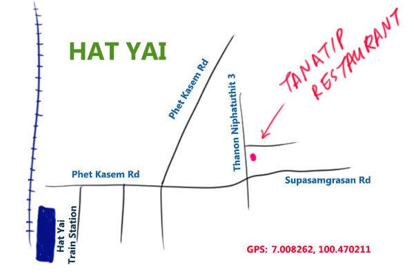 map to tanatip restaurant, hat yai, Thailand