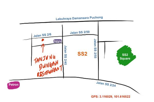 map to Tanjung Bungah Restaruant, SS2