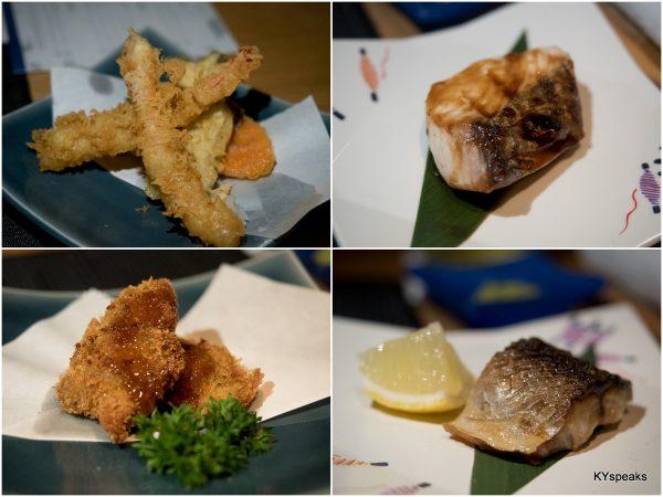 """ala minute"" dishes - ebi tempura, saba, kaki furai, sawara teriyaki"