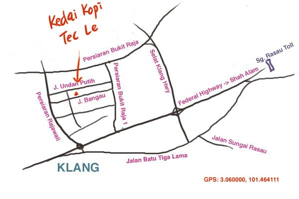 map to Tec Le kopitiam, Taman Berkeley, Klang