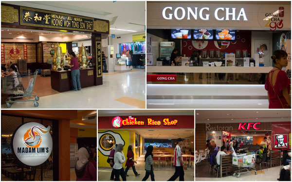 some of the eateries at Tesco Extra - including Gong Cha, Chicken Rice Shop & more