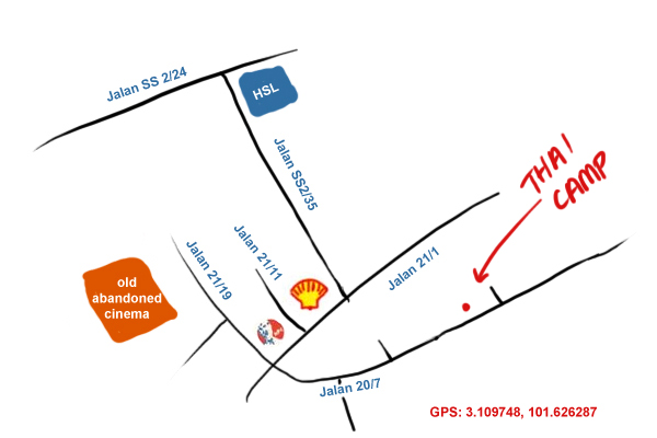 map to Thai Camp, Taman Paramount