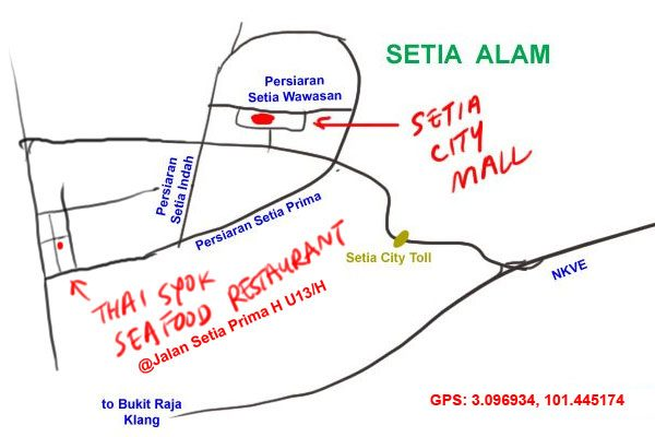 thai syok seafood restaurant map at Setia Alam