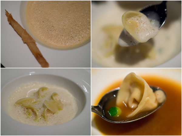 lobster bisque with lobster grissini, lobster tortellini with lobster cream