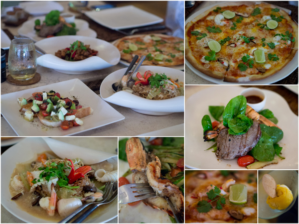 pizza, surf & turf, bruschetta with mozzarella, wat tan hor, ice cream