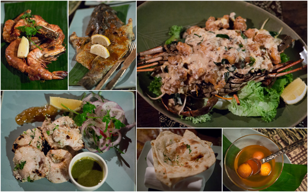 tiger prawns, grilled garupa, lobster, skewered boneless chicken, prata, kuih