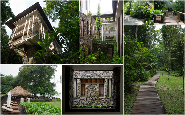 the architecture is uniquely Malaysian and blends in with nature