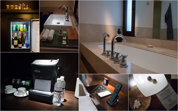 the bathroom, and minibar complete with Lavazza coffee machine