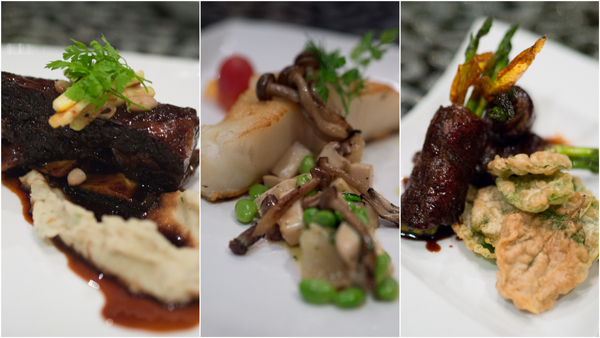 balsamic glazed short ribs, ryu (black cod), beef negimaki