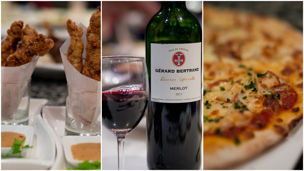 coconut chicken strip, Gerard Bertrand merlot, rendang pizza