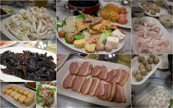 steamboat set, smoked duck, black fungus, fish ball, meat ball, etc