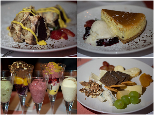 classic Italian tiramisu, baked cheese cake, ice cream, cheese platter