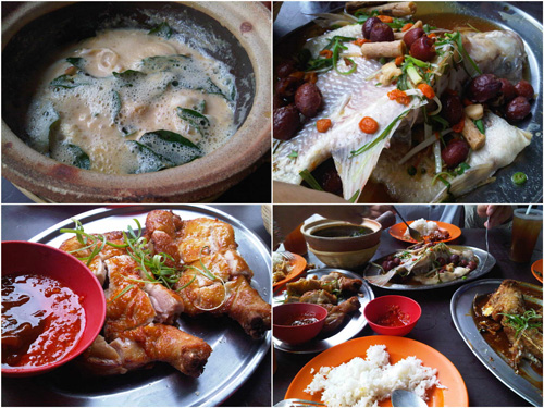 butter squid, herbal steamed tilapia, fried chicken