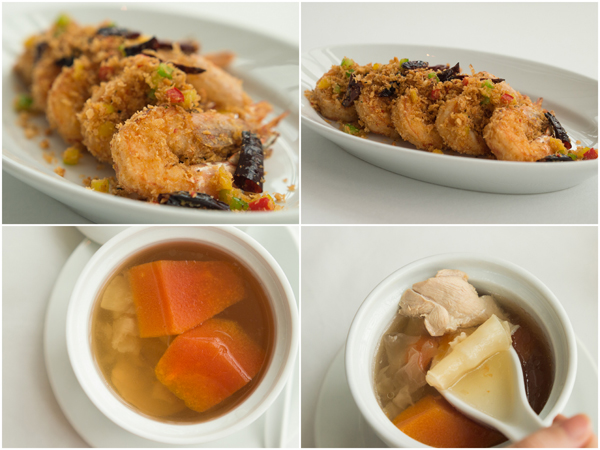 crispy prawns with bread crumbs and garlic, double boiled chicken soup, fish maw, papaya & snow fungus