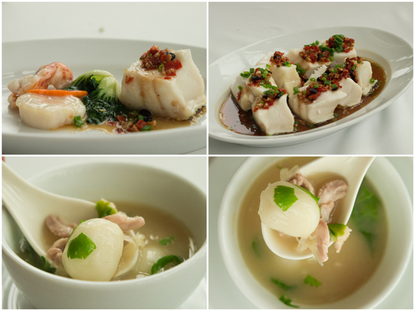 steamed cod fish, black bean chili sauce; Chinese style salty glutinous dumplings