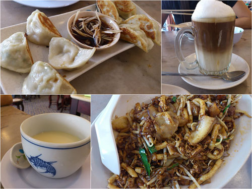 gyoza, hailam tea, tao fu far, and fried yam cake