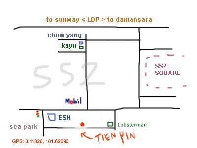 map to Tien Pin restaurant, PJ SS 2