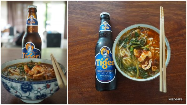 Aik prawn mee, Tiger beer