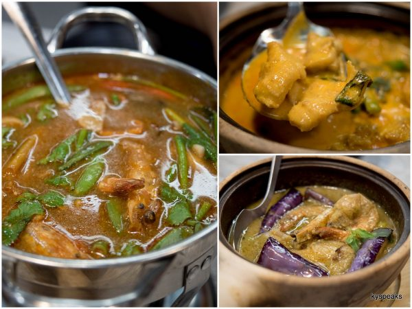 tomyum seafood, Thai red curry chicken, Thai green curry prawn