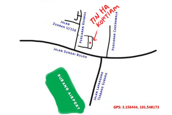 map to Tin Ha kopitiam, Kampung Subang