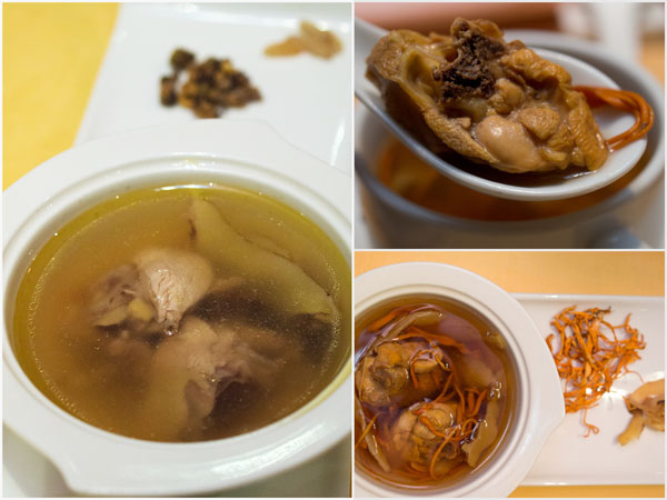 "double boiled chicken with ""shi hu"" or ""chong cao hua"" soup"