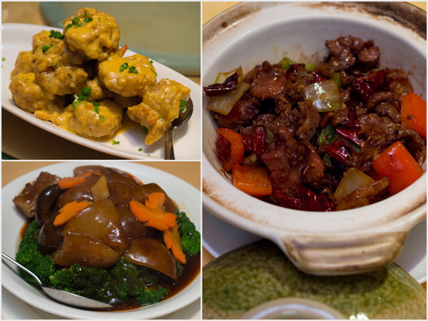 prawns with salted egg, sea cucumber with mushroom, lamb with cumin &amp; dried chili