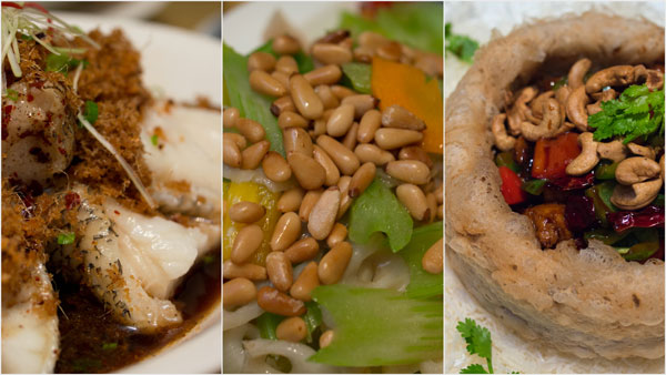 "steamed Canadian black cod, sauteed celery with pine nuts, vegetarian ""chicken"" with yam basket"