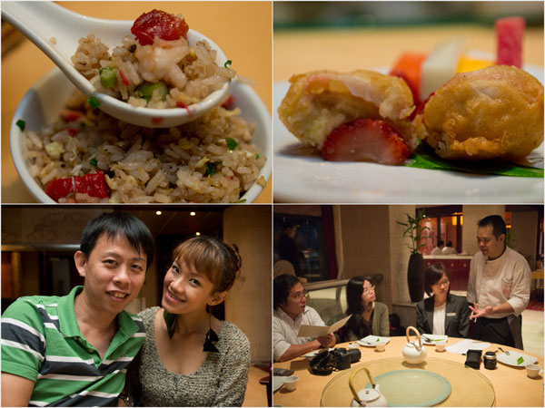 Toh Yuen fried rice, banana fritter & strawberry cheese cake dessert