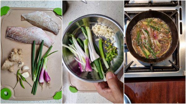 garupa fillet, spring onion, cilipadi, garlic, ginger