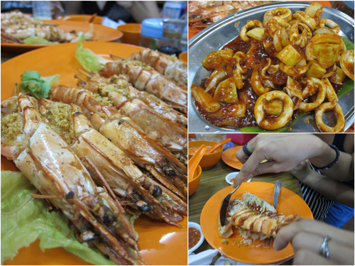 grilled prawns, spicy squid