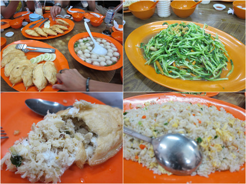 stuffed crab, fish ball soup, vegetable, fried rice
