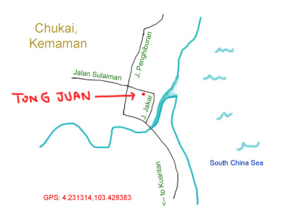 location map to Tong Juan restaurant, Kemaman