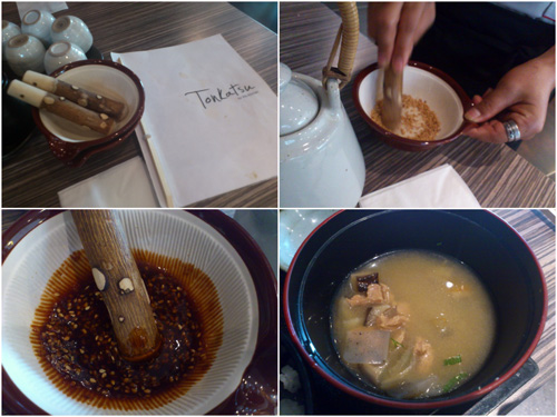 make  your own condiment, very rich miso soup