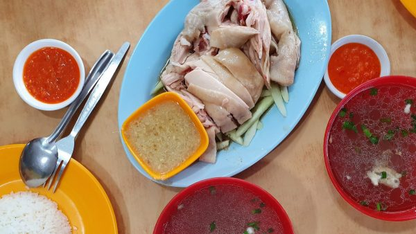 perfectly cooked steamed chicken with Bentong ginger