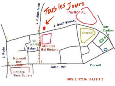 map to Tous Les Jours
