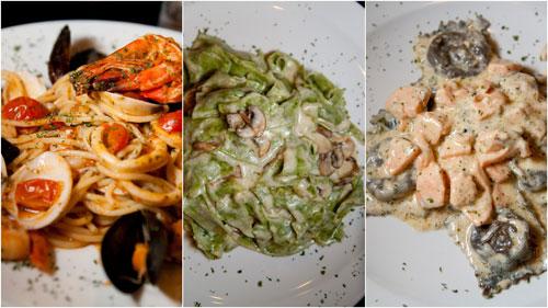 seafood pasta,spinach pasta, ravioli