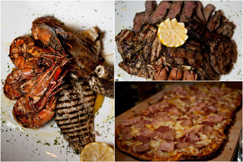 seafood grill, mixed grill, pizza