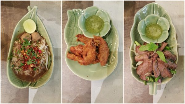 tuk tuk noodle, fried chicken wing, beef salad