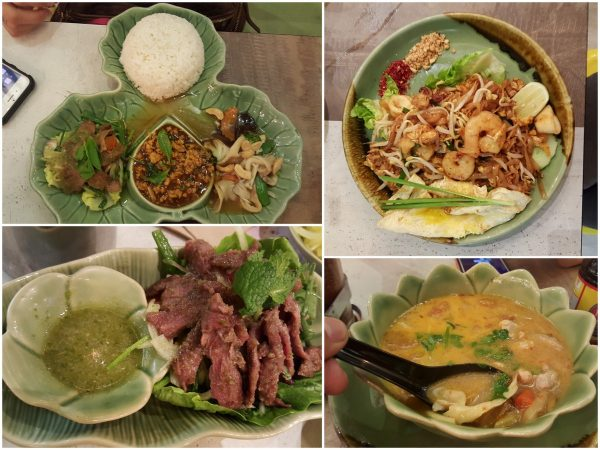 set meal, pad thai, beef salad, tomyam