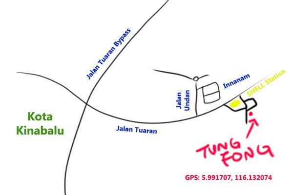Tung Fong Seafood Restaurant map, Kota Kinabalu