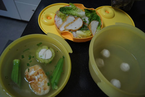 fish ball kueh teow soup in tupperware