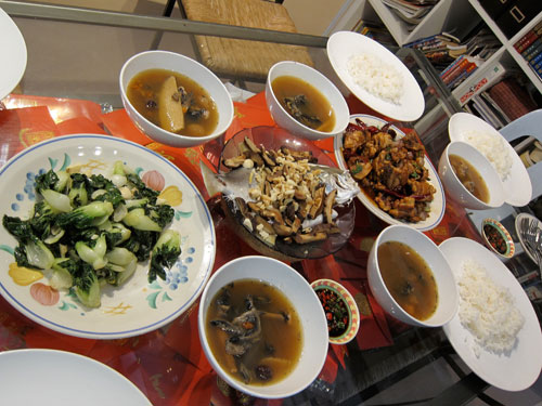 vegetable, black chicken herbal soup, steamed fish, kung pao chicken