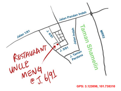 map to Uncle Meng char siu at Taman Shamelin