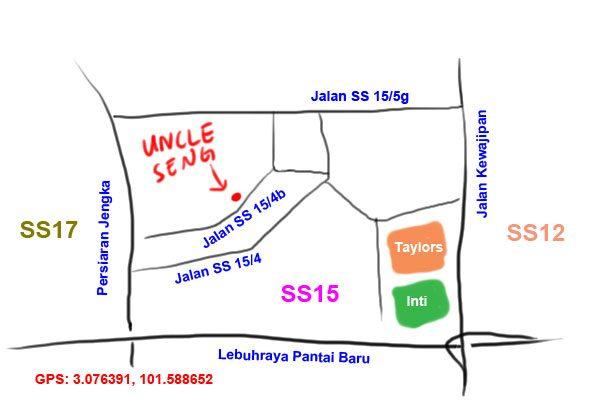 map to Uncle Seng noodle at SS15