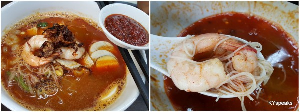 the prawn mee comes with a couple bigger prawns too